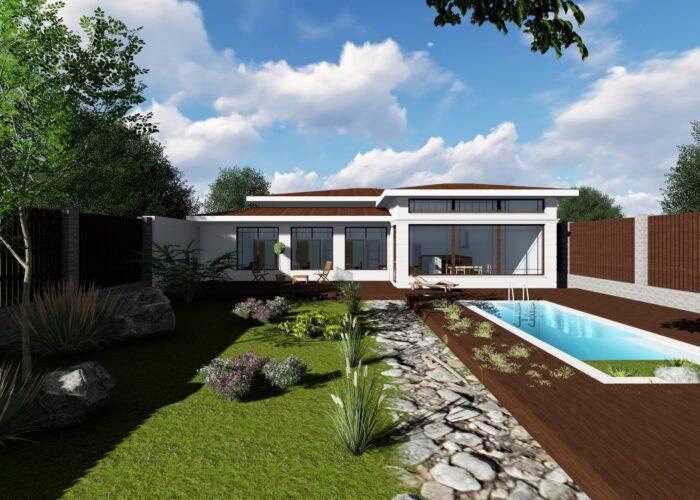 проект садового дома с бассейном-min